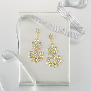 45.25 ct. t.w. Green Prasiolite and 3.10 ct. t.w. White Topaz Chandelier Earrings in 18kt Gold Over Sterling