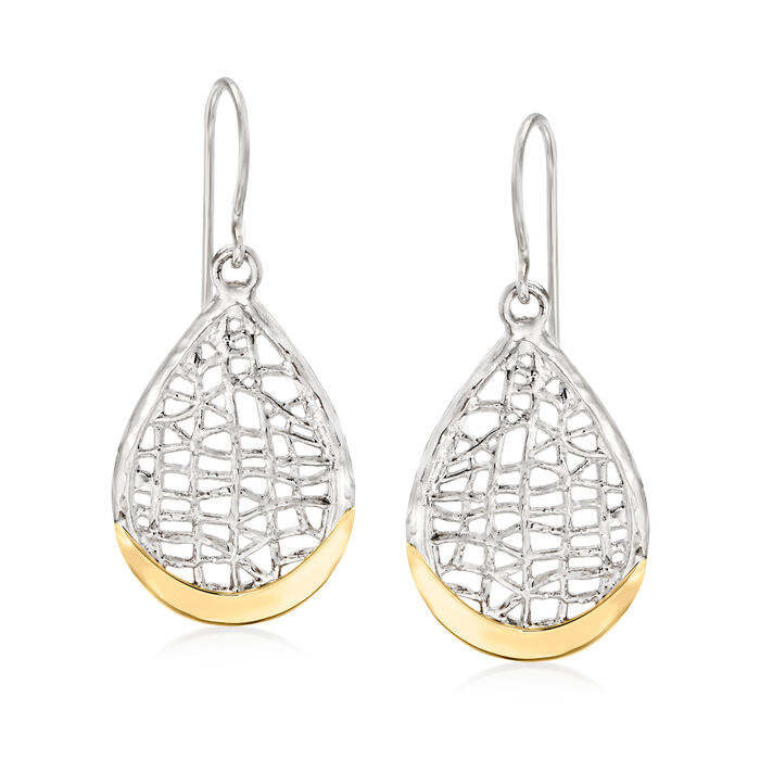 Sterling Silver and 14kt Yellow Gold Openwork Teardrop Earrings