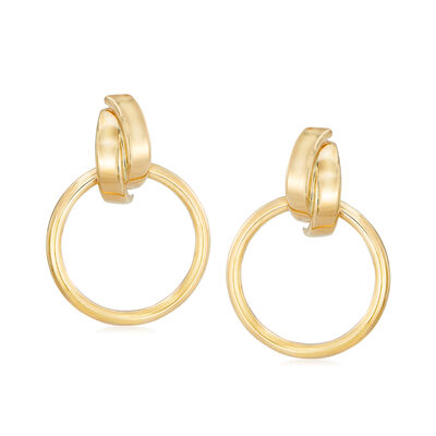 Italian 14kt Yellow Gold Open-Circle Drop Earrings