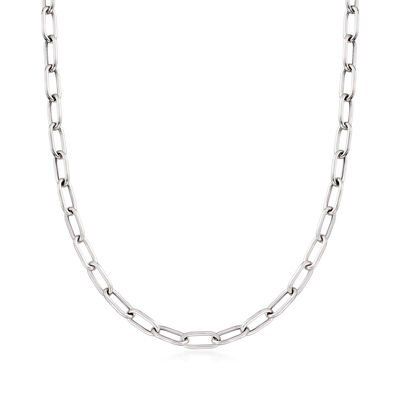 Italian Sterling Silver Paper Clip Link Necklace