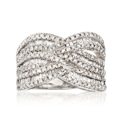 1.50 ct. t.w. Diamond Wave Ring in Sterling Silver, , default