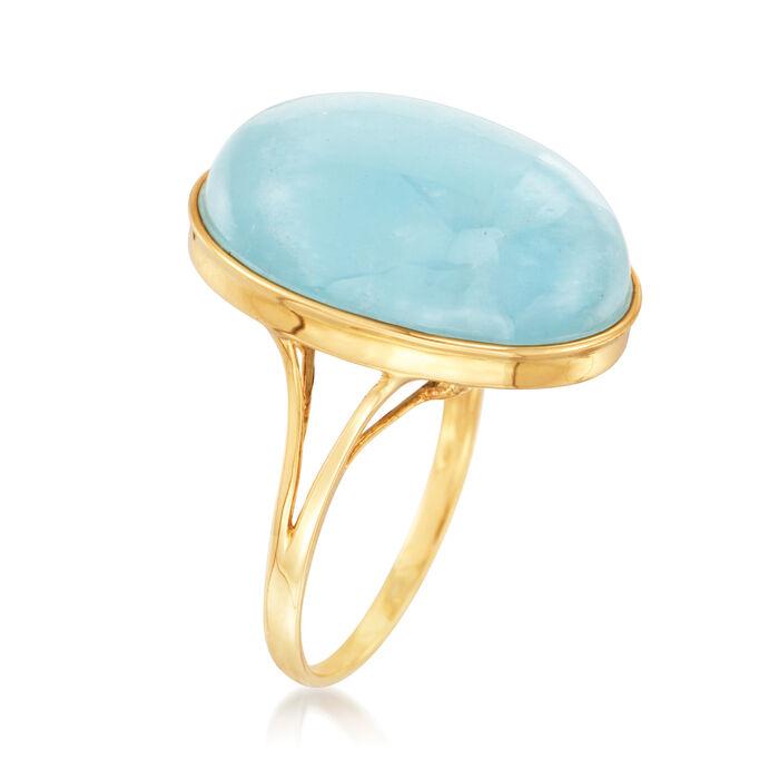 25.00 Carat Milky Aquamarine Ring in 14kt Yellow Gold