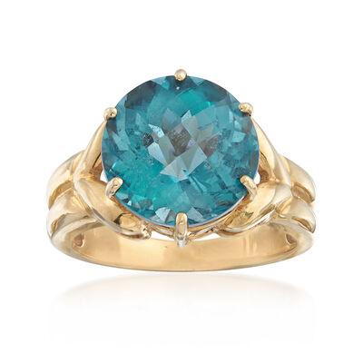 C. 1950 Vintage 2.30 Carat Blue Topaz Ring in 10kt Yellow Gold, , default