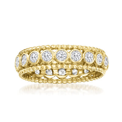 1.00 ct. t.w. Bezel-Set Diamond Eternity Ring in 14kt Yellow Gold
