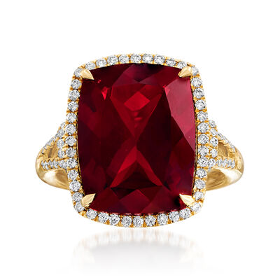 13.00 Carat Garnet and .41 ct. t.w. Diamond Ring in 14kt Yellow Gold