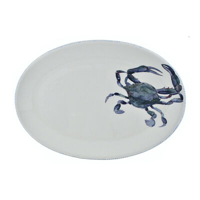 Abbiamo Tutto Italian Blue Crab Ceramic Oval Serving Platter, , default