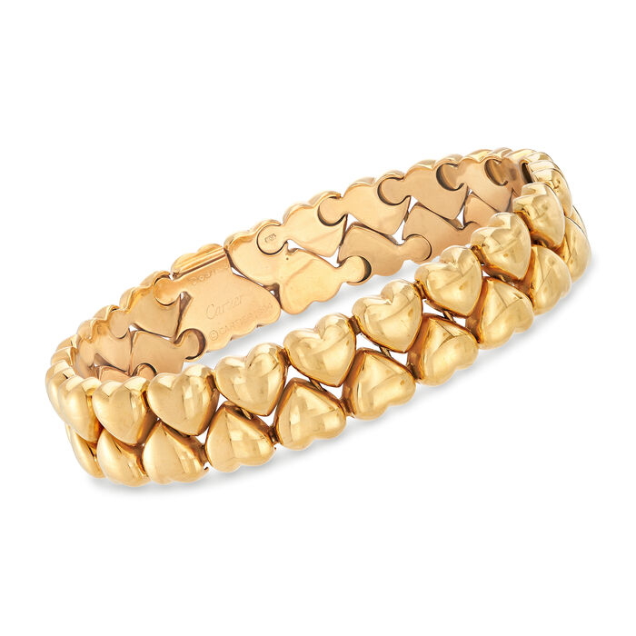 C. 1994 Vintage Cartier Double-Row Heart Bracelet in 18kt Yellow Gold