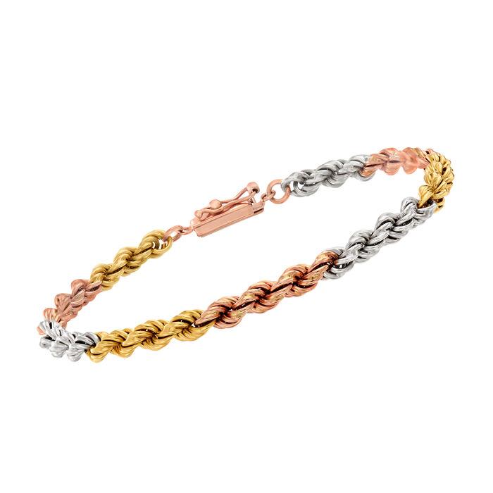 """C. 1990 Vintage 14kt Tri-Colored Gold Rope Bracelet. 7"""""""
