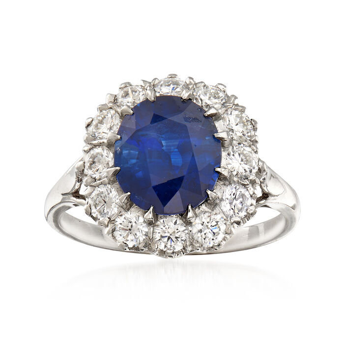 3.84 Carat Sapphire and 1.00 ct. t.w. Diamond Ring in Platinum. Size 7