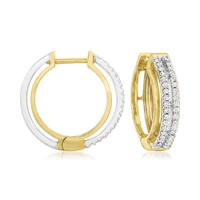 C. 1990 Vintage .75 ct. t.w. Diamond Double-Row Hoop Earrings in 18kt Two-Tone Gold