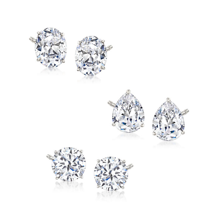 15.20 ct. t.w. CZ Jewelry Set: Three Pairs of Stud Earrings in Sterling Silver, , default