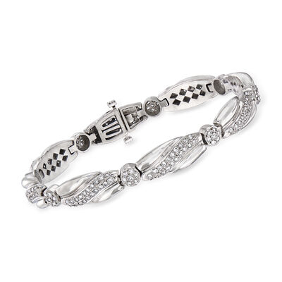 C. 1980 Vintage 3.20 ct. t.w. Diamond Bracelet in 14kt White Gold, , default