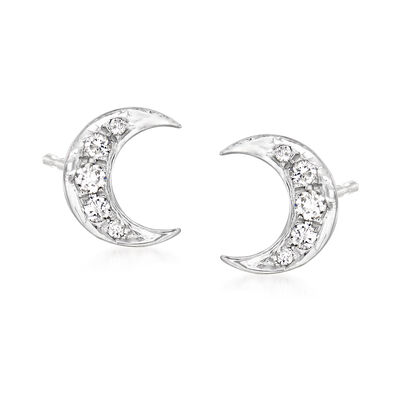 .12 ct. t.w. Diamond Moon Stud Earrings in Sterling Silver