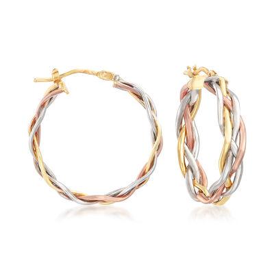 Italian Tri-Colored Gold Braided Hoop Earrings, , default