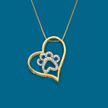 .15 ct. t.w. Diamond Pawprint and Heart Pendant Necklace in 18kt Yellow Gold Over Sterling Silver, , default