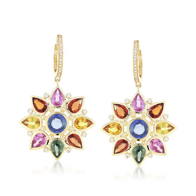 10.75 ct. t.w. Multicolored Sapphire and .20 ct. t.w. Diamond Flower Drop Earrings in 18kt Yellow Gold