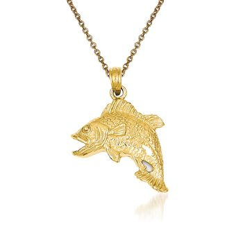 "14kt Yellow Gold Bass Fish Pendant Necklace. 18"", , default"