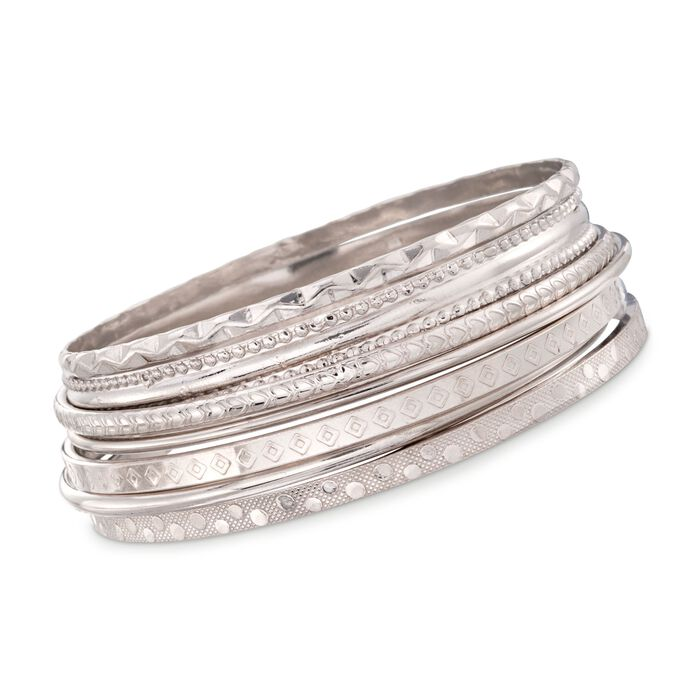 "Italian Sterling Silver Jewelry Set: Seven Assorted Texture Bangle Bracelets. 7.5"", , default"