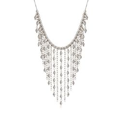 Italian Sterling Silver Bead Fringe Bib Necklace, , default