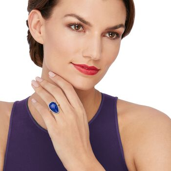 Blue Lapis and .44 ct. t.w. White Topaz Ring in 18kt Gold Over Sterling. Size 5, , default