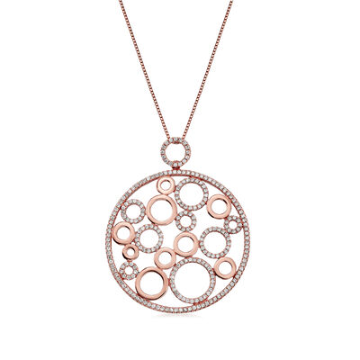C. 1990 Vintage 1.53 ct. t.w. Diamond Circle Pendant Necklace in 18kt Rose Gold