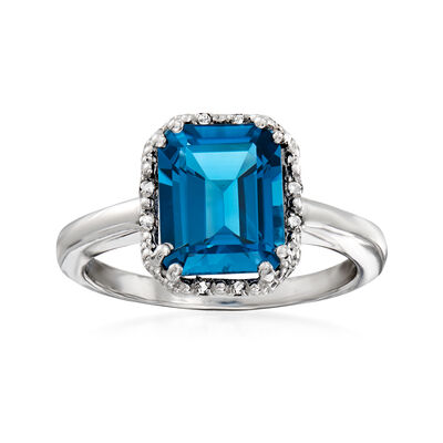 3.80 Carat London Blue Topaz Ring with Diamond Accents in Sterling Silver