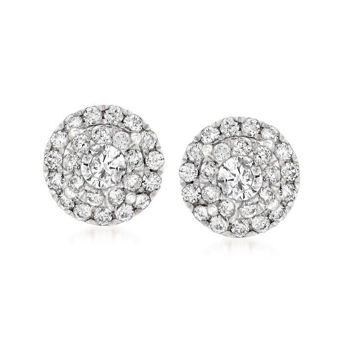 .50 ct. t.w. Diamond Illusion Halo Stud Earrings in 14kt White Gold