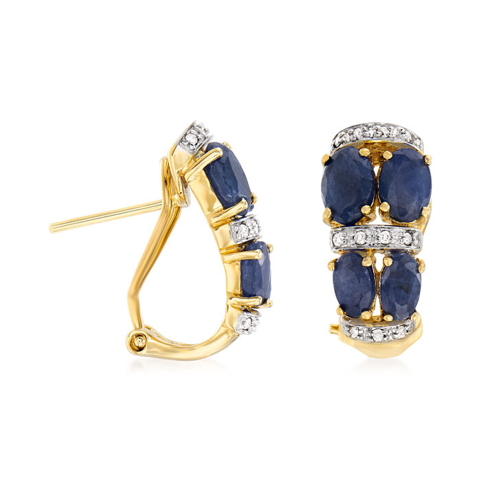 3.90 ct. t.w. Sapphire Earrings with Diamond Accents in 14kt Yellow Gold