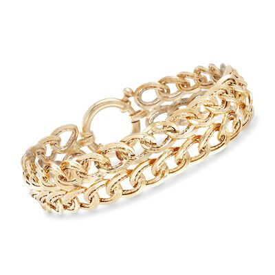 14kt Yellow Gold Two-Row Oval Curb-Link Bracelet, , default