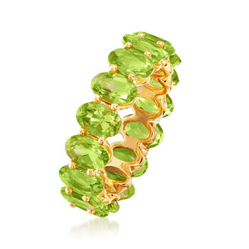 7.25 ct. t.w. Peridot Eternity Band in 18kt Gold Over Sterling, , default