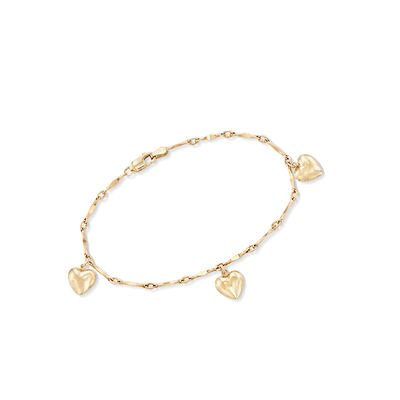 Child's 14kt Yellow Gold Heart Charm Bracelet, , default