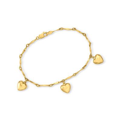 Child's 14kt Yellow Gold Heart Charm Bracelet, , default