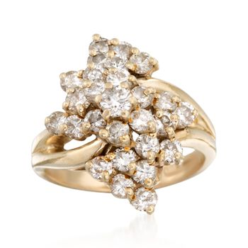 C. 1980 Vintage 2.00 ct. t.w. Diamond Cluster Ring in 14kt Yellow Gold. Size 6.5, , default