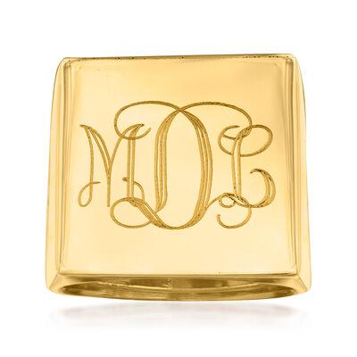 Italian Square Flat-Top Monogram Ring in 14kt Yellow Gold