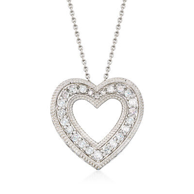 .50 ct. t.w. Diamond Open Heart Pendant Necklace in Sterling Silver, , default