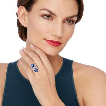 5.75 ct. t.w. Kyanite, .10 ct. t.w. Tsavorite and .50 ct. t.w. White Zircon Flower Ring in Sterling Silver, , default