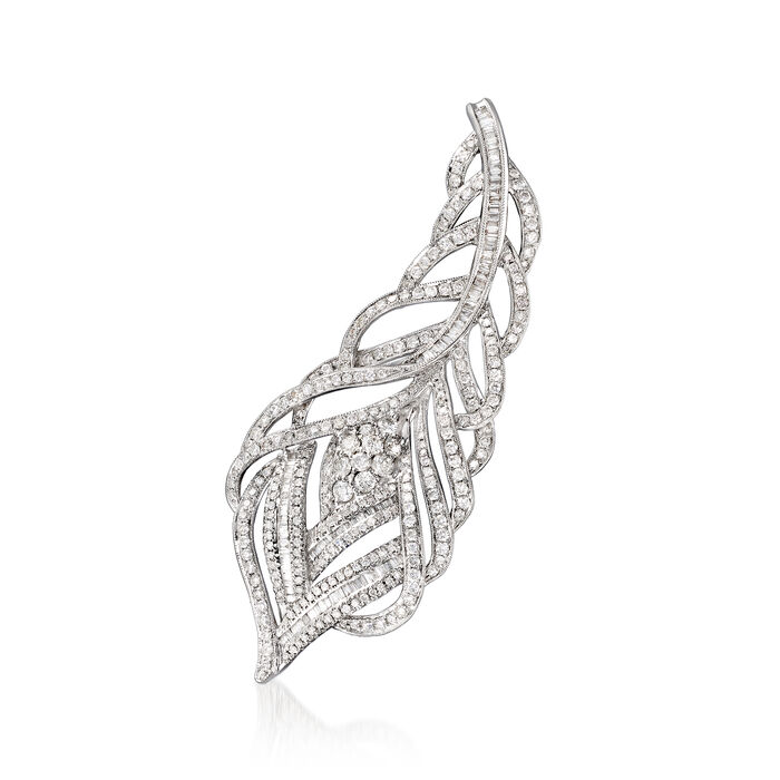 2.69 ct. t.w. Diamond Fancy Feather Pin/Pendant in 18kt White Gold