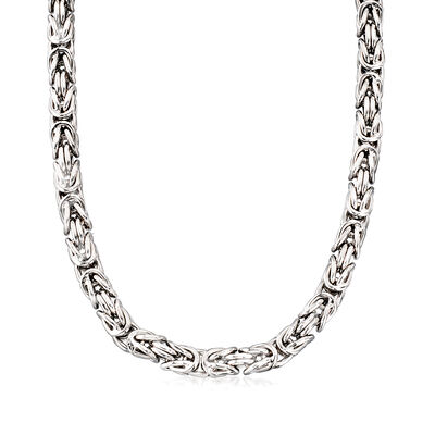 Italian Sterling Silver Squared Byzantine Necklace