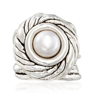 9-10mm Cultured Pearl Swirl Ring in Sterling Silver, , default