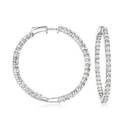 5.00 ct. t.w. Diamond Inside-Outside Hoop Earrings in Sterling Silver, , default