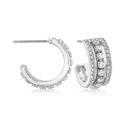 Swarovski Crystal J-Hoop Earrings in Silvertone, , default