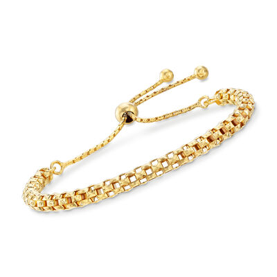 Italian 18kt Yellow Gold Over Sterling Silver Mesh Bolo Bracelet, , default