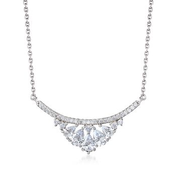 """2.45 ct. t.w. CZ Curved Bar Necklace in Sterling Silver. 18"""", , default"""