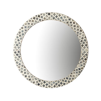 Slate Quartrefoil Round Wall Mirror, , default