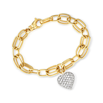C. 1990 Vintage 1.00 ct. t.w. Diamond Heart Charm Bracelet in 18kt Two-Tone Gold, , default