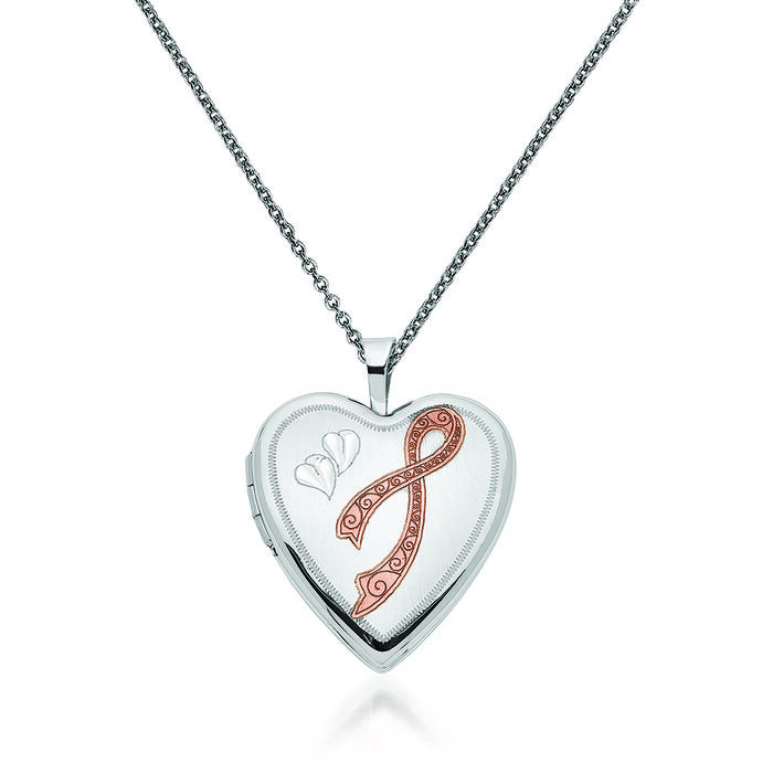 """14kt White Gold Breast Cancer Awareness Heart Locket Necklace with Pink Enamel. 18"""""""