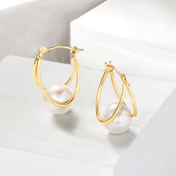 "8-9mm Cultured Pearl Double-Hoop Earrings in 14kt Yellow Gold. 3/4"""