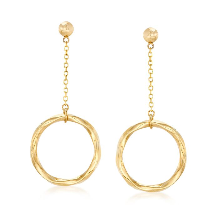 14kt Yellow Gold Twisted Open Circle Drop Earrings