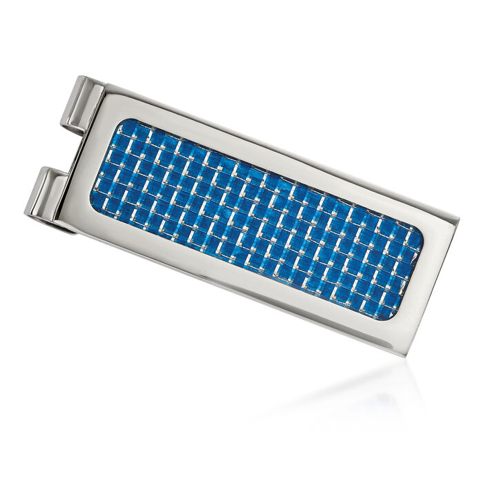 Stainless Steel and Blue Carbon Fiber Inlay Money Clip, , default