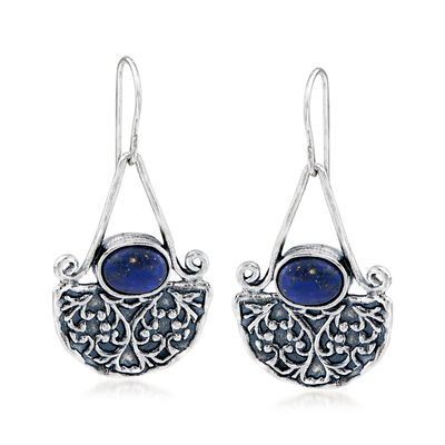 8x6mm Lapis Fan Drop Earrings in Sterling Silver